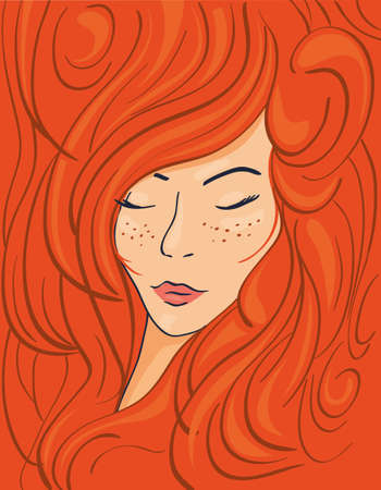 Beautiful face of a red-haired girl in thick wavy hair, vector illustration Illustration