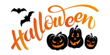 Vector banner with lettering Halloween, bats and pumpkins head jack lanterns. Ilustración de vector