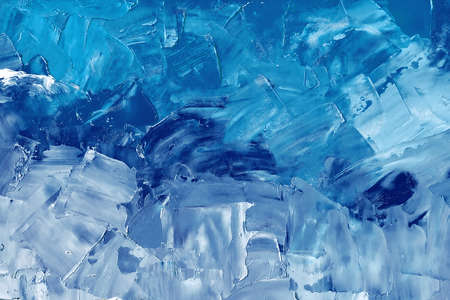Abstract background texture in blue tones, brush strokes with oil paints on canvas