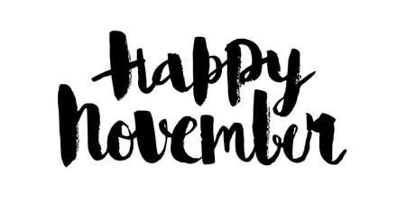 Happy November, calligraphic vector inscription
