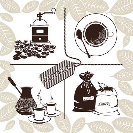 Set of coffee beans, cezve, grinder, cup of coffee and sacks