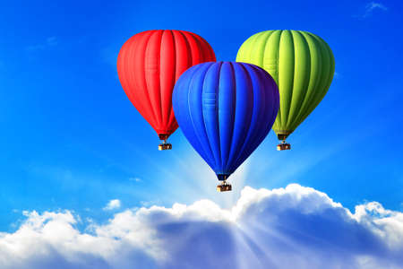 Three bright hot air balloons on the sky, symbol of the RGB color scheme