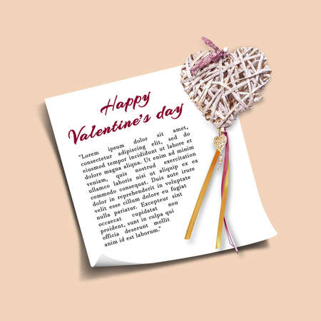 Greeting card template for Valentines Day, wedding invitation with a straw decorative heart