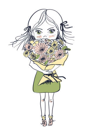 Little freckles girl in a dress with big bouquet of flowers, vector illustration