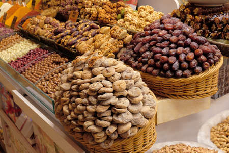 Dried fruits, sweetness, spices and teas sell on the Egyptian market in Istanbul, Turkey