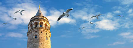 Horizontal banner with Galata tower and seagulls on the background of clouds and blue sky, Turkey, Istanbul