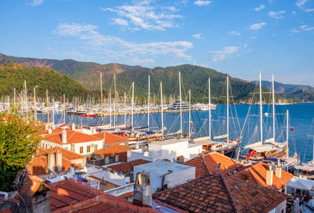 View of the old city and the bay with yachts, Mammaris, Turkey Imagens