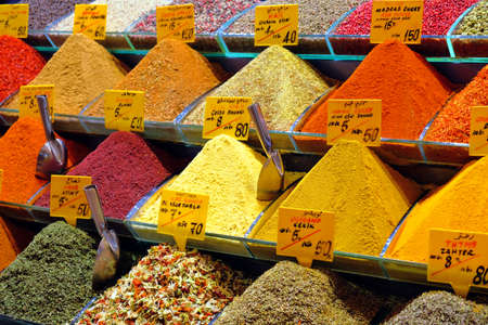 Spices and teas sell on the Egyptian market in Istanbul 写真素材 - 131649989