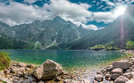 Beautiful landscape of the lake Morske Oko (Sea Eye) on a clear sunny day, Zakopane, Poland, High Tatras