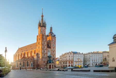 St. Marys Cathedral church at Market square in Krakow at sunrise, Poland 写真素材