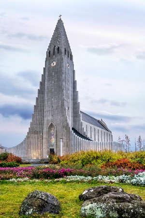 Hallgrimskirkja Cathedral in Reykjavik, Iceland, lutheran parish church, exterior in the evening 스톡 콘텐츠