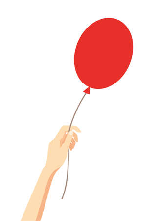 Vector illustration, red air balloon in a female hand