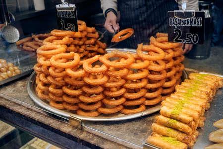 Traditional delicious Turkish ring dessert Halka tatli