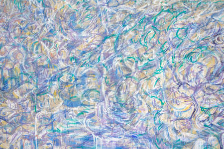 Abstract background in violet-green shades, colored crayons on the wall