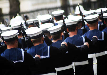 marching: Abstract Marching Sailors & Royal Marines London england
