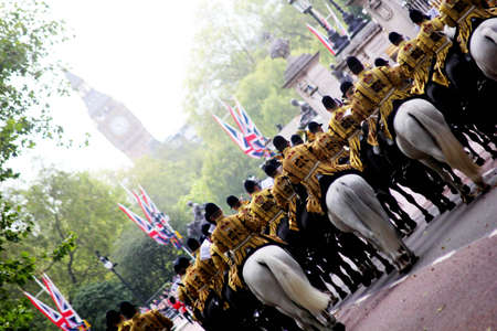 cavalry: The Band of The Household Cavalry with Big Ben in the foreground