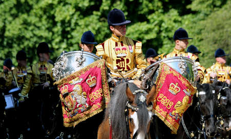 17th: London England 17th June 2017  The Household Cavalry Band on way to Trooping The Colour Editorial