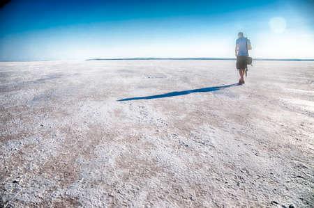 golu: tourist walk in salt lake in Turkey: tuz golu