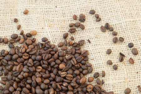 breathable: beautiful macro background of coffee with jute