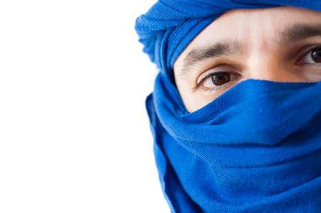 keffiyeh: beautiful macro of man with blue keffiyeh Stock Photo
