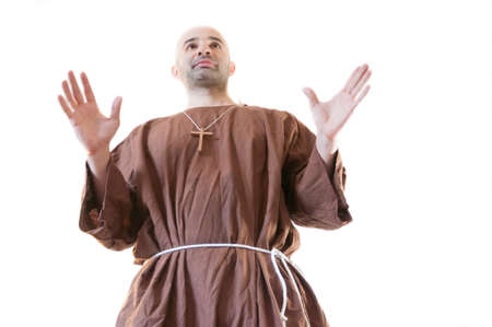 friar: friar franciscan in white background