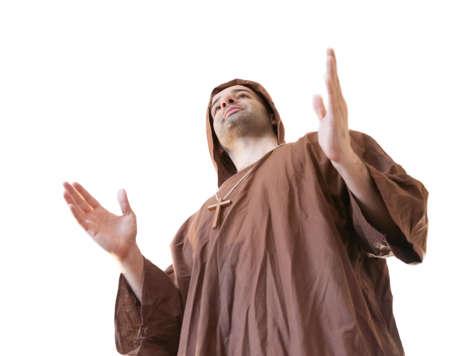 friar: friar francisan in white background Stock Photo