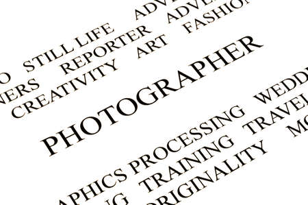 times new roman: photographer advertising background white and black in studio Stock Photo