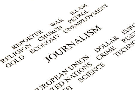 times new roman: journalist conceptual banner in white background white and black Stock Photo