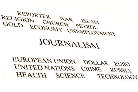 journalist conceptual banner in white background white and black Stock Photo