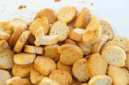 croutons: beautiful background of croutons of bread