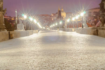 without people: beautiful view of karlov bridge without people Stock Photo