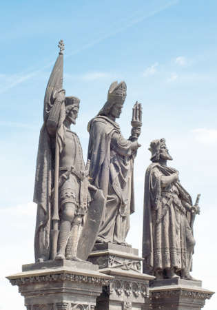 st charles: St. Wenceslas, St.sigismondo and St. norberto, statue on charles bridge in a sunny day Stock Photo