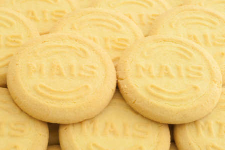 mais: beautiful macro background of mais cookies Stock Photo