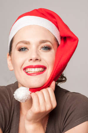 skull cap: smily and happiness girl for christmas day Stock Photo