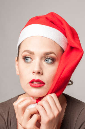 caucasian girl in christmas day Stock Photo