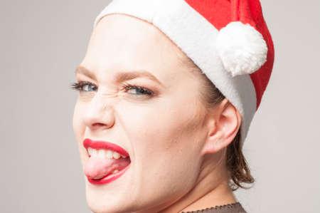 caucasian girl in christmas day Stock Photo