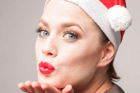 happy caucasian girl in christmas day