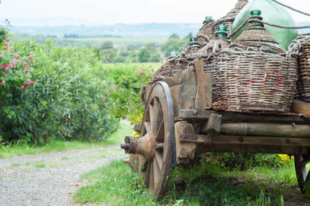 traditional cart in a beautiful landscape in Tuscany in a sunny day