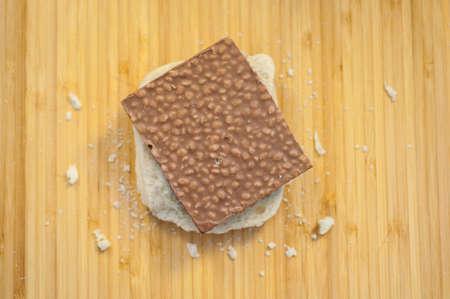beautiful macro of tasty bread and chocolate