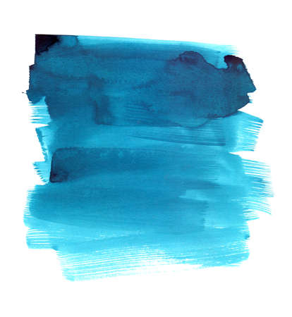 cerulean: Hand drawn blue watercolor brush stroke isolated on a white background Stock Photo