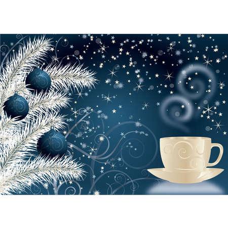 De blauwe achtergrond van het nieuwjaar met een kop en Kerstmisballen. Vector