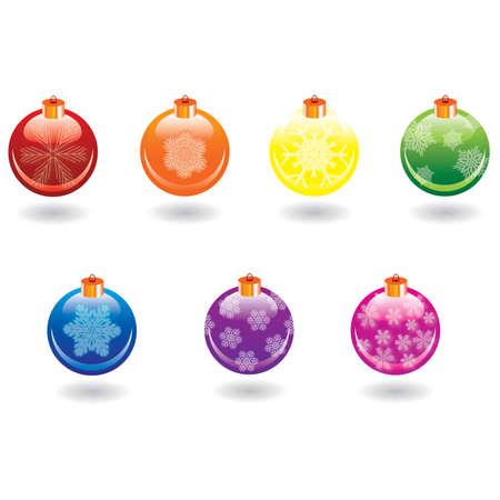 Christmas balls set over white background, vector Stock Vector - 5613198