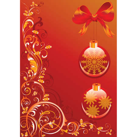 vegetative: Christmas background with red spheres and vegetative pattern. Vector