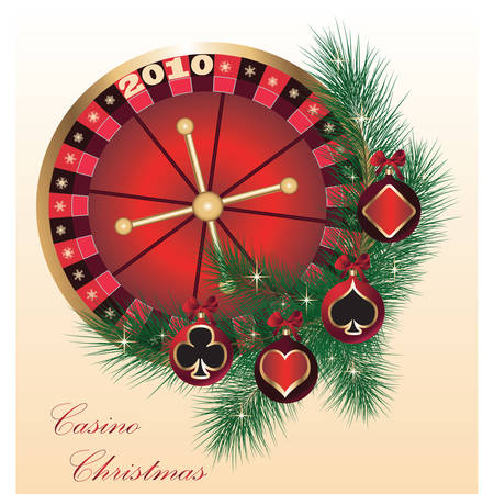 Gambling illustration with casino elements and christmas balls. Vector Vector