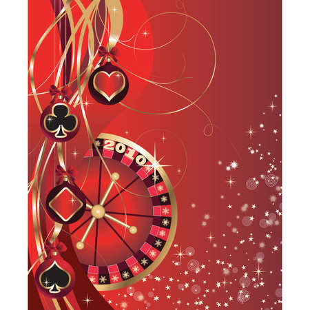 roulette table: Christmas card with casino elements, poker, New Years spheres.  vector. Illustration