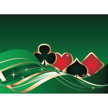 playing with money: gambling background with poker elements Illustration
