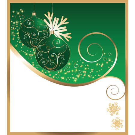 green bow: New Years card with christmas green balls.Vector