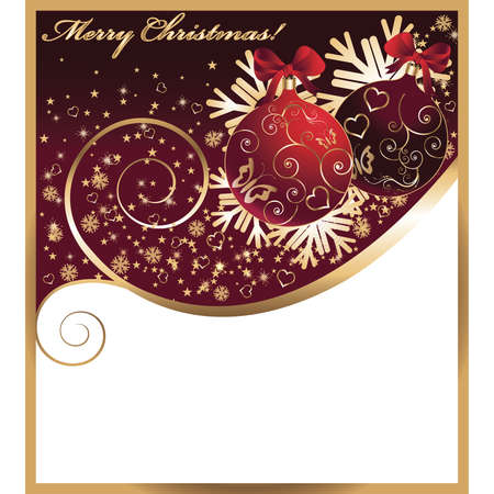 Christmas card with a red balls. vector  Vector