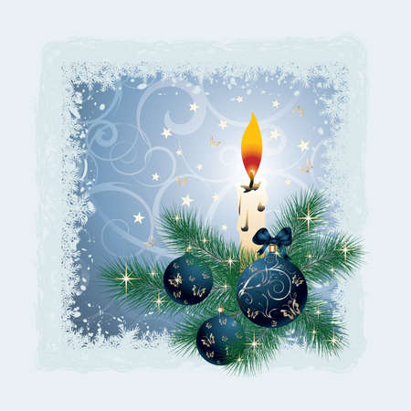 Christmas card with a candle, balls. vector  Vector
