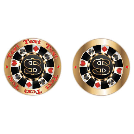 gambler: Poker chips dollar. Vector
